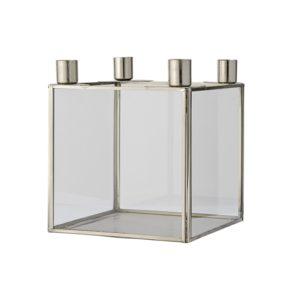 sześcienny szklany metalowy świecznik ozdobny