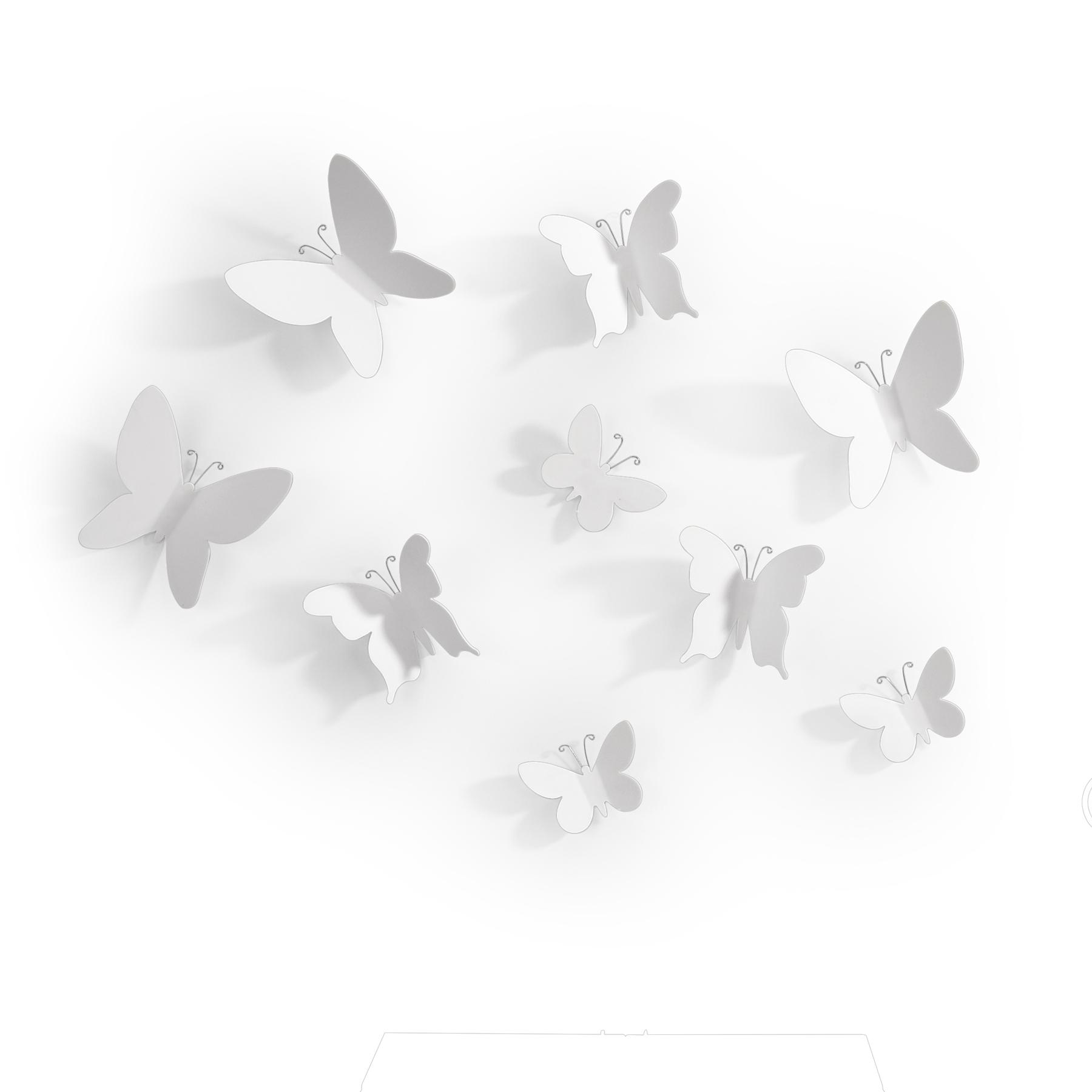 metalowa aplikacja ścienna przestrzenne motyle dekoracja kolor biały