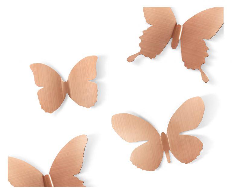 aplikacja ścienna przestrzenne metalowe motyle kolor miedź