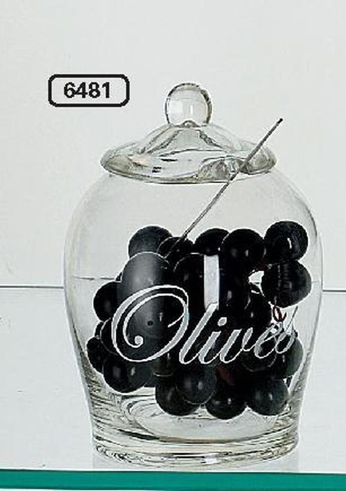 szklany słój na oliwki z przykrywką i łyżką