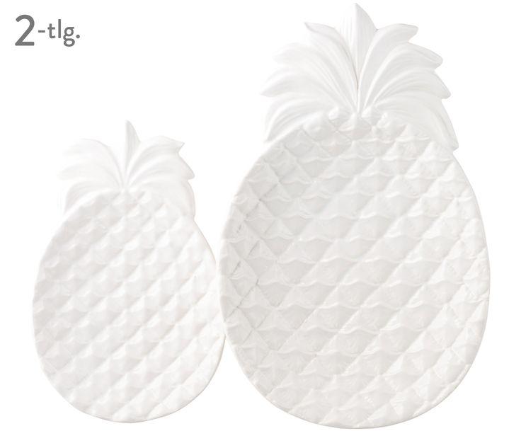 zestaw 2 białych ceramicznych talerzyków - ananasów
