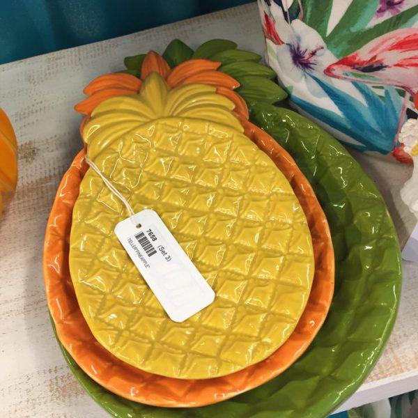 zestaw 3 kolorowych ceramicznych talerzyków - ananasów