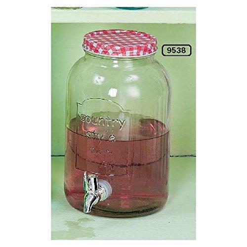 szklany czerwony słoik na napoje z kranem