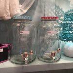 szklane słoiki na napoje z kranem (niebieski i czerwony)