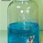 szklany niebieski słoik na napoje z kranem