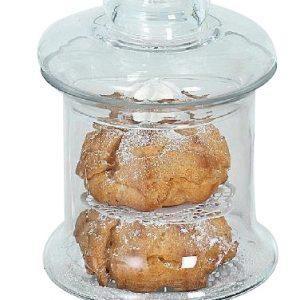 piętrowy szklany pojemnik na słodycze ze szklanym wiekiem