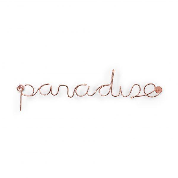 metalowy napis PARADISE na ścianę kolor miedziany