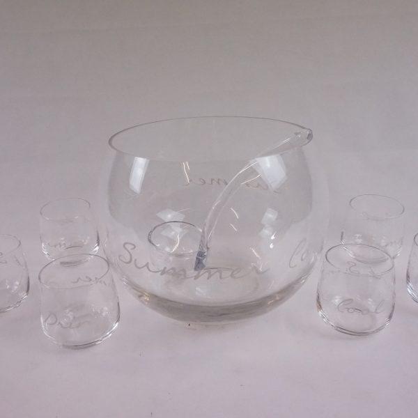 zestaw do napojów - miska i 6 szklanek