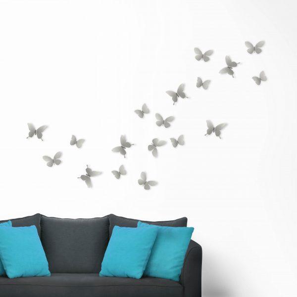 Metalowa aplikacja przestrzenna motyle trójwymiarowe metal mariposa kolor nikiel