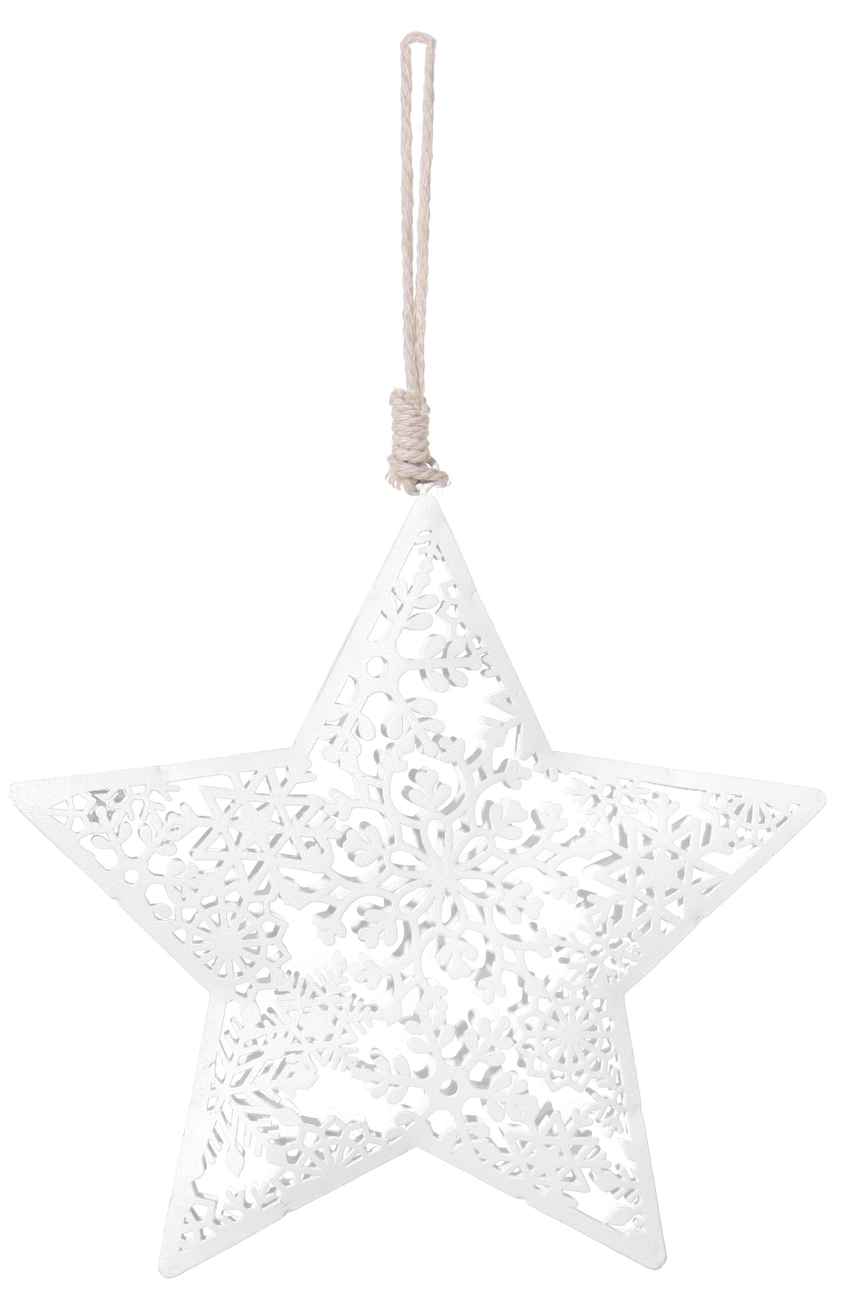 metalowa gwiazda z wycinanką 15 cm biała tegusta ozdoba choinkowa zawieszka