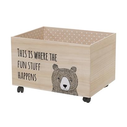 drewniana skrzynia na zabawki z kółkami