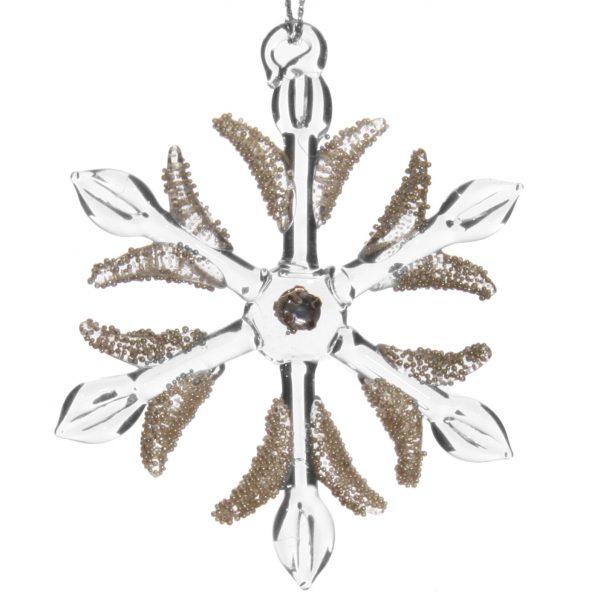 szklana bombka gwiazda ze srebrnymi zdobieniami - koralikami