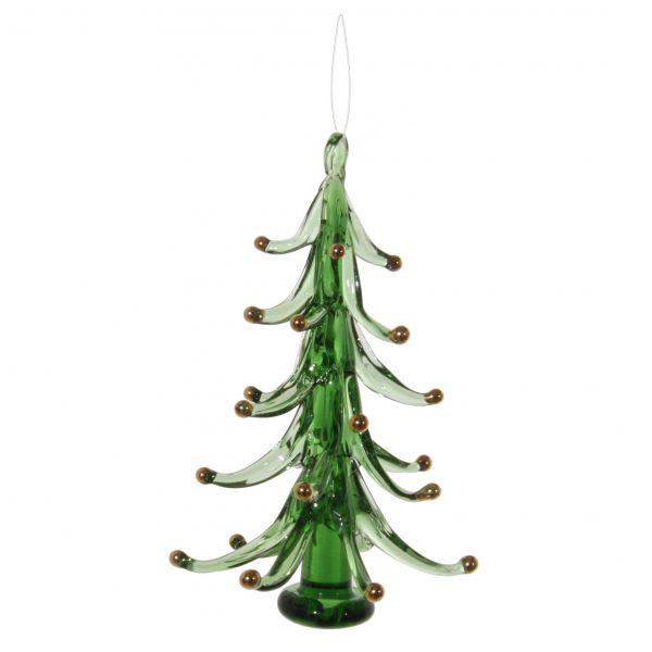 szklana bombka choinkowa choinka zielona 12 cm ze złotymi bombkami