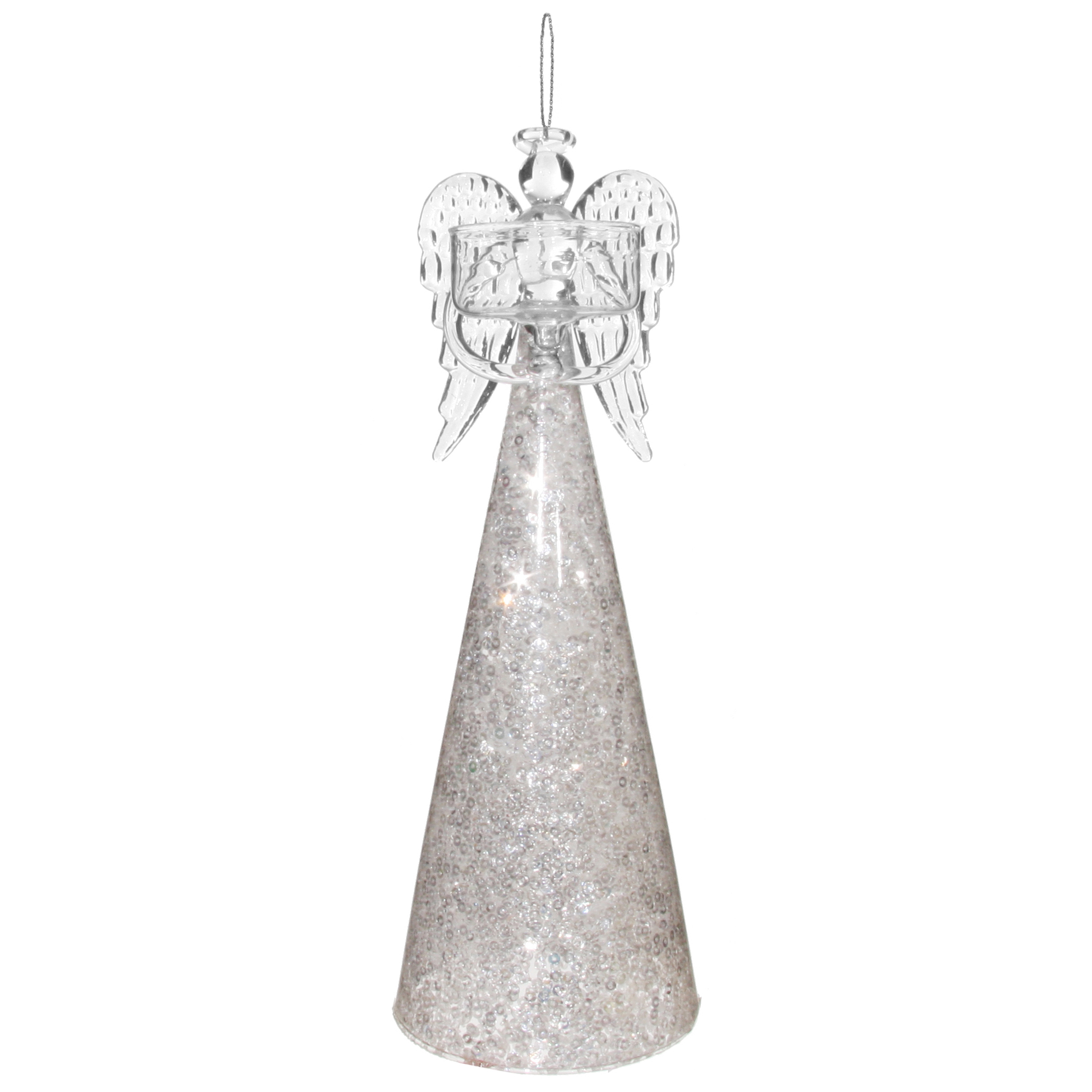 szklany anioł swiecznik 25 cm w sukience z cekinami tlight Tealight candlestick
