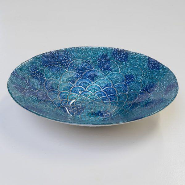 ręcznie malowany talerz półmisek w kolorze morskiego błękitu