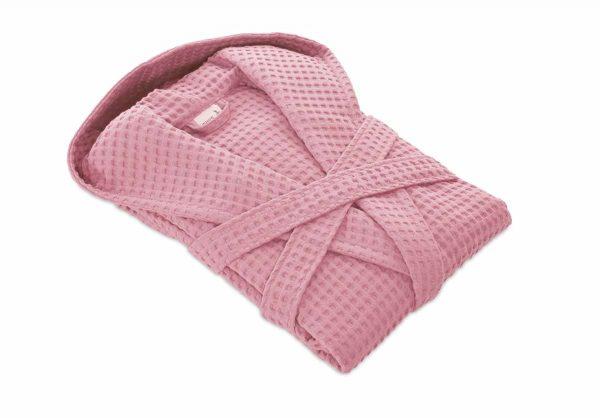 pikowany szlafrok łazienkowy różowy