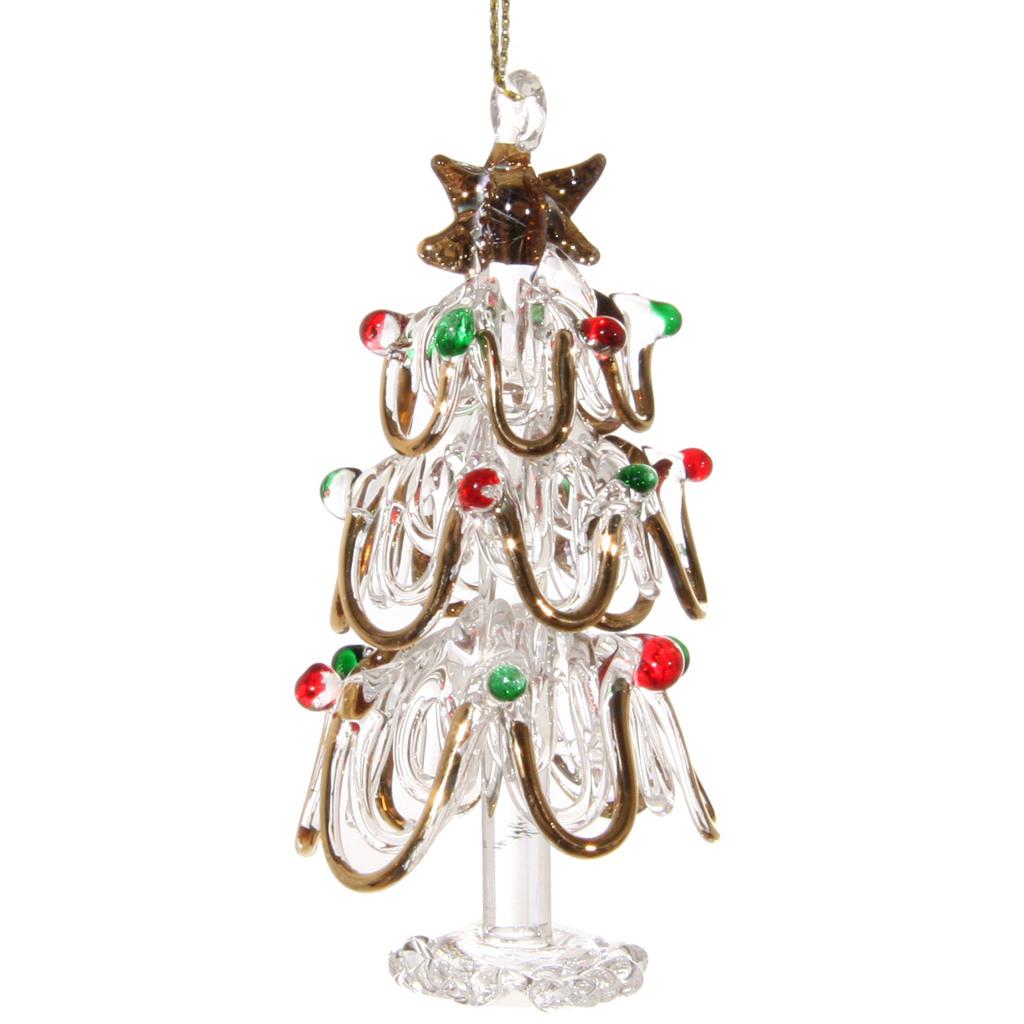 szklana złota choinka bożonarodzeniowa