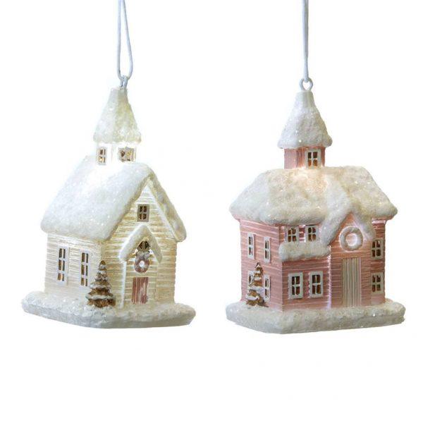 podświetlane domki wiszące bombki choinkowe