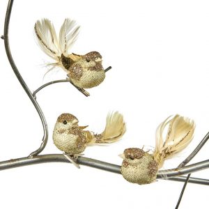 złote ptaszki pióra dekoracja domu na święta