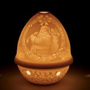 podświetlony mały porcelanowy świecznik lladro tlight święty mikołaj
