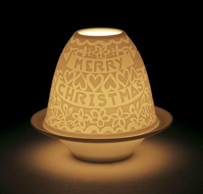 podświetlony lampion tlight porcelanowy na Boże narodzenie