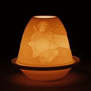 podświetlony świecznik anioł trzymający gwiazdę