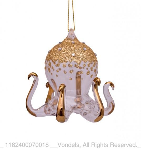 Bombka choinkowa szklana meduza złota z brokatem