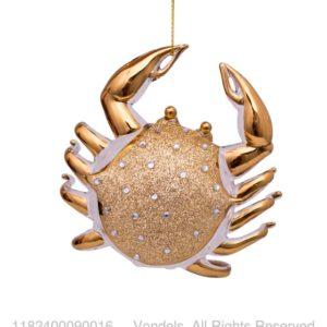 Bombka choinkowa szklany krab złoty z diamentami