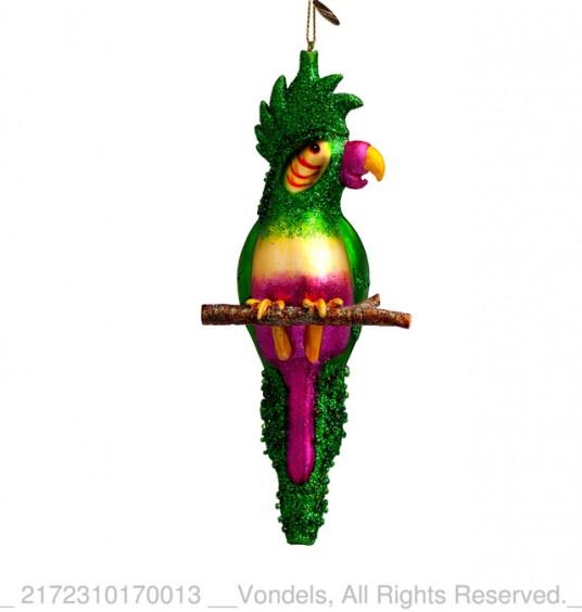 Bombka choinkowa szklana papuga zielona