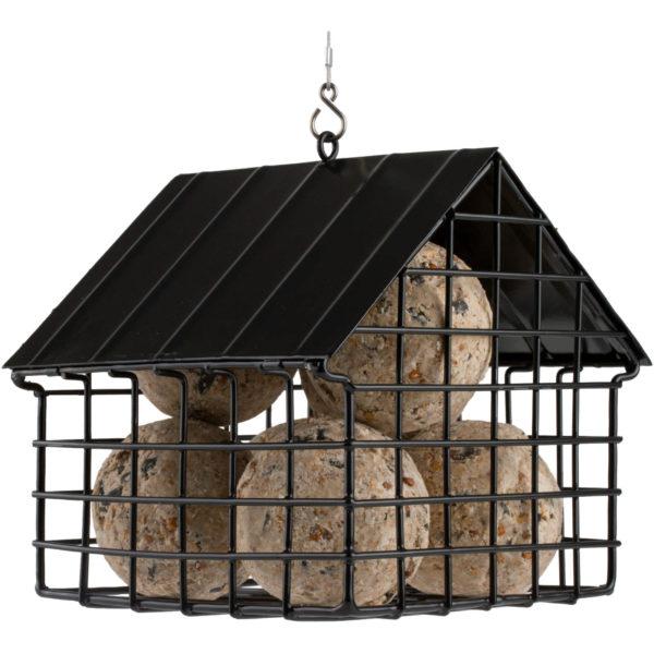 czarny karmnik dla ptaków z siatki metalowej
