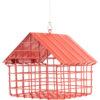 czerwony karmnik dla ptaków z siatki metalowej