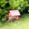 czerwony metalowy karmnik dla ptaków na kule tłuszczu