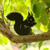 zdjęcie metalowej wiewiórki na drzewie